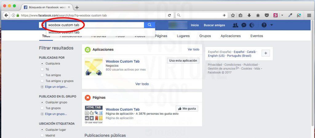Selección de Woboox aplicación en Facebook