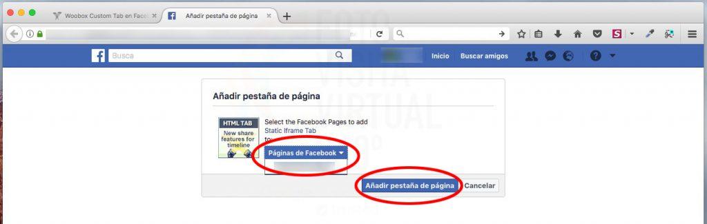 Añadir la pestaña a mi Facebook