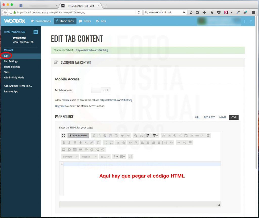"""En la ventana de """"PAGE SOURCE"""" pegamos el código HTML para mostrar la visita y más"""