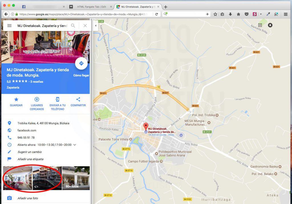 Seleccionar una de las imágenes de la visita virtual de la ficha Google de la empresa