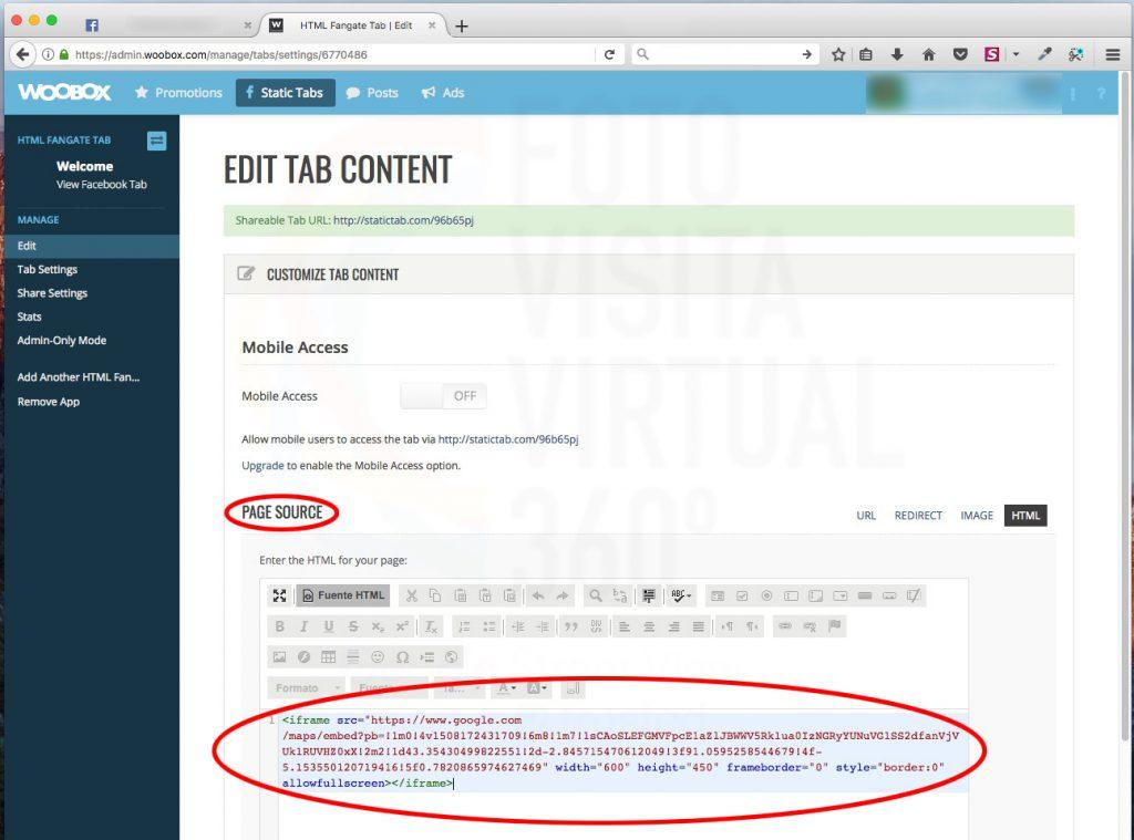 Pegamos el código en la ventana de page source