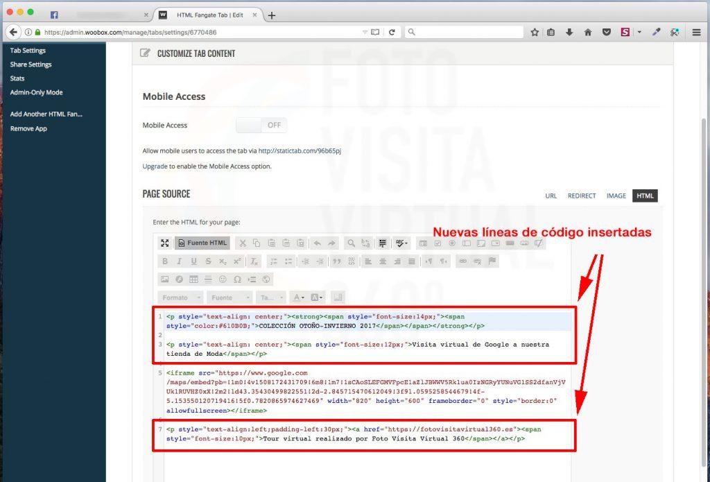 adicionar más código HTML a la pestaña de Woobox en la visita virtual