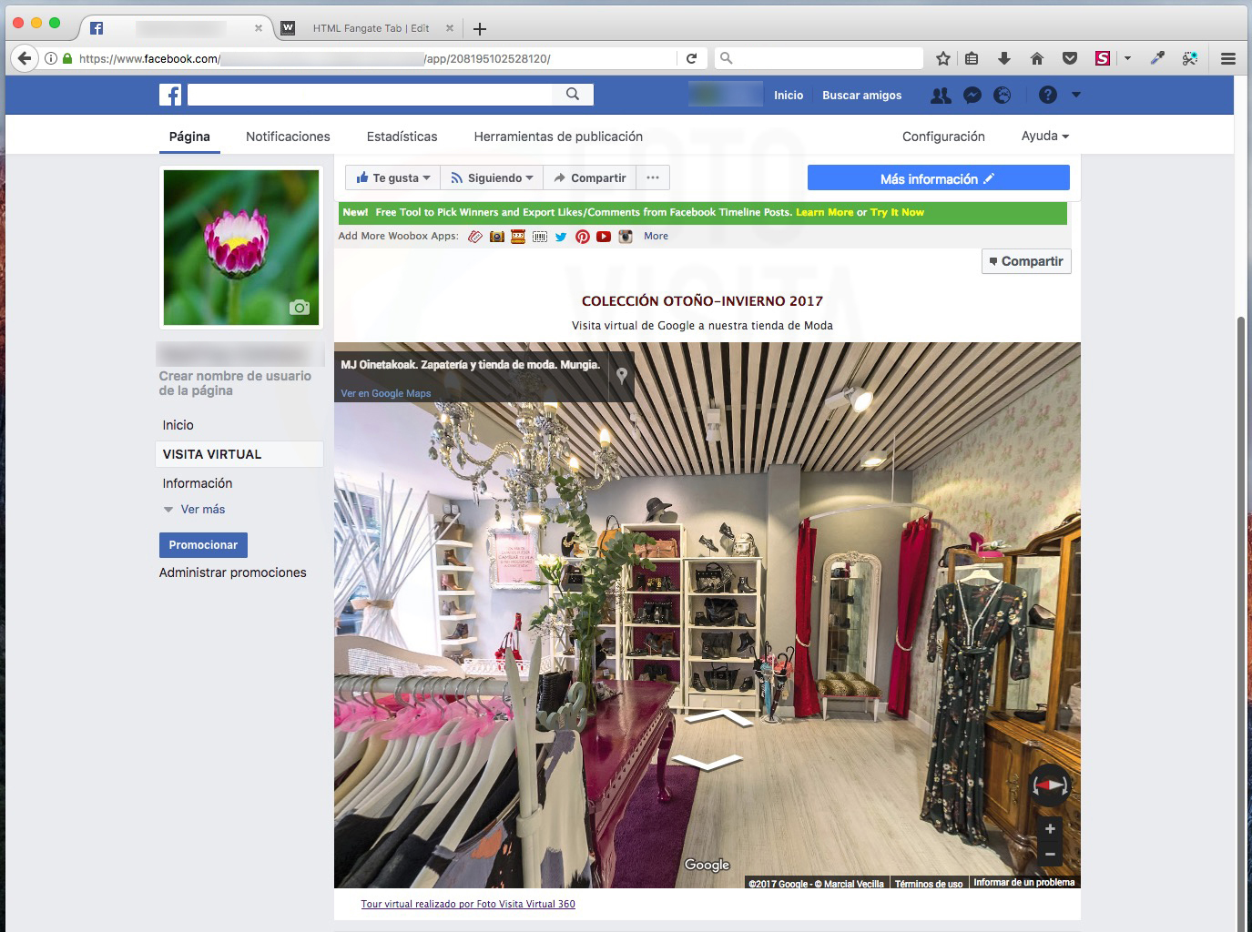 Visita virtual integrada en Facebook con titulares