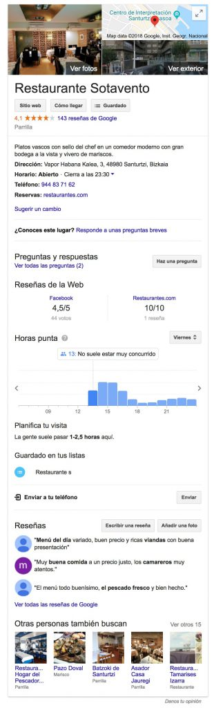 Ficha Google My Business del Restaurante Sotavento con el tour virtual